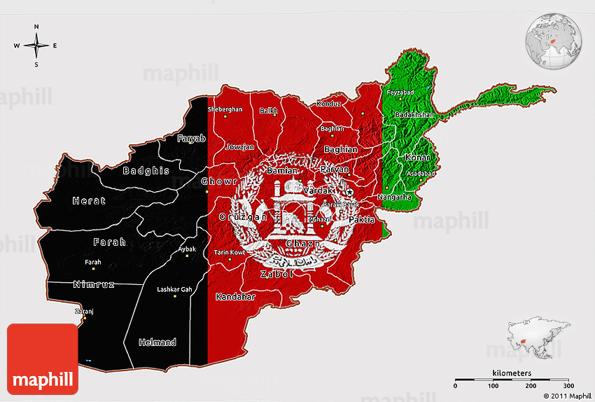 Flag 3D Map of Afghanistan