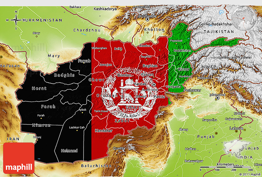 Flag 3D Map of Afghanistan physical outside