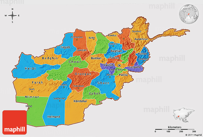 Political 3D Map of Afghanistan, cropped outside