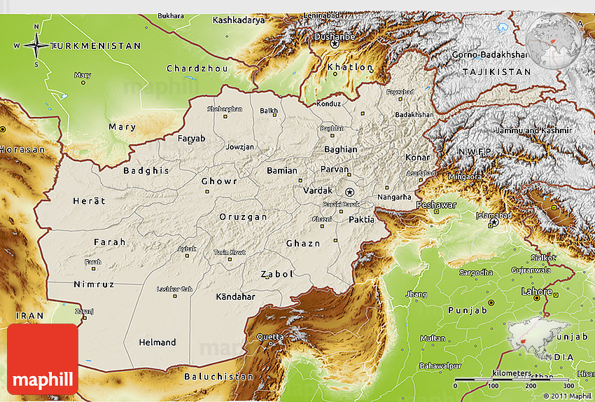 Shaded Relief 3D Map of Afghanistan physical outside