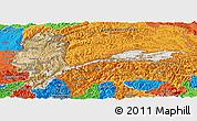 Satellite Panoramic Map of Badakhshan, political outside