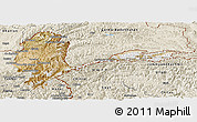 Satellite Panoramic Map of Badakhshan, shaded relief outside