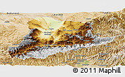 Physical Panoramic Map of Baghian, satellite outside