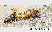 Physical Panoramic Map of Baghian, shaded relief outside