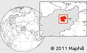 Blank Location Map of Bamian, highlighted country