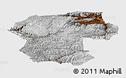 Physical Panoramic Map of Bamian, single color outside