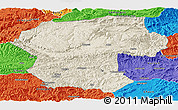 Shaded Relief Panoramic Map of Bamian, political outside