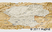 Shaded Relief Panoramic Map of Bamian, satellite outside