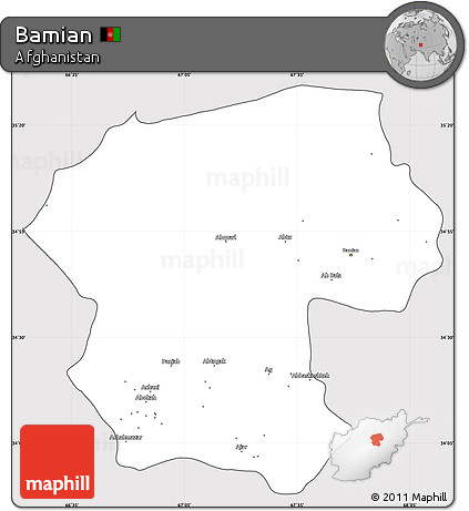 Silver Style Simple Map of Bamian, cropped outside