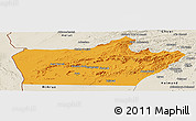 Political Panoramic Map of Farah, shaded relief outside