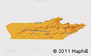 Political Panoramic Map of Farah, single color outside