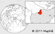 Blank Location Map of Faryab, highlighted country