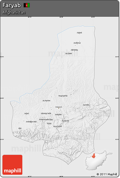 Silver Style Map of Faryab, single color outside