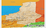 Satellite Panoramic Map of Faryab, political outside