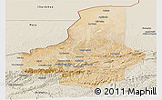 Satellite Panoramic Map of Faryab, shaded relief outside