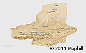 Satellite Panoramic Map of Faryab, single color outside
