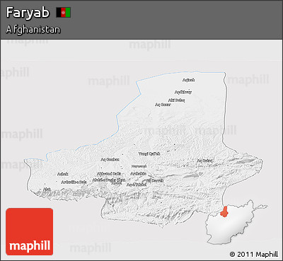 Silver Style Panoramic Map of Faryab, single color outside