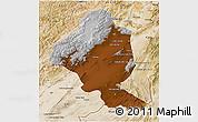 Physical 3D Map of Ghazn, satellite outside