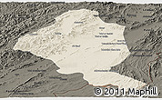 Shaded Relief Panoramic Map of Ghazn, darken