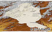 Shaded Relief Panoramic Map of Ghazn, physical outside