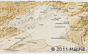 Shaded Relief Panoramic Map of Ghazn, satellite outside