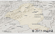 Shaded Relief Panoramic Map of Ghazn, semi-desaturated