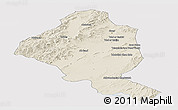 Shaded Relief Panoramic Map of Ghazn, single color outside