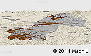 Physical Panoramic Map of Ghowr, shaded relief outside