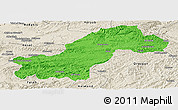 Political Panoramic Map of Ghowr, shaded relief outside