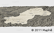 Shaded Relief Panoramic Map of Ghowr, darken