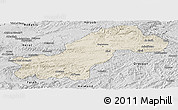 Shaded Relief Panoramic Map of Ghowr, desaturated