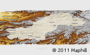 Shaded Relief Panoramic Map of Ghowr, physical outside