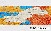 Shaded Relief Panoramic Map of Ghowr, political outside
