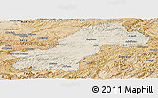 Shaded Relief Panoramic Map of Ghowr, satellite outside