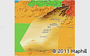 Physical Panoramic Map of Helmand, political outside