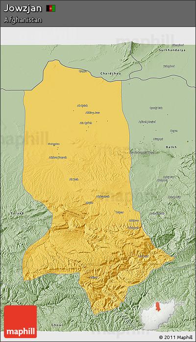 Savanna Style 3D Map of Jowzjan