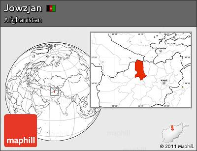 Blank Location Map of Jowzjan