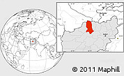 Blank Location Map of Jowzjan, highlighted country