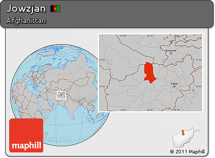 Gray Location Map of Jowzjan