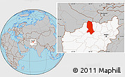 Gray Location Map of Jowzjan, highlighted country