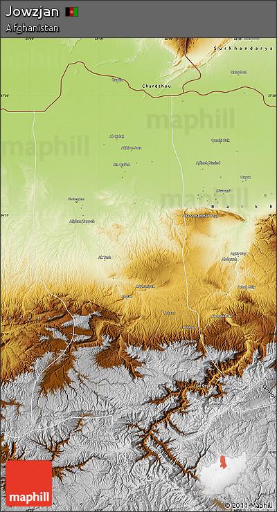 Physical Map of Jowzjan