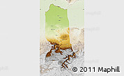 Physical Map of Jowzjan, lighten
