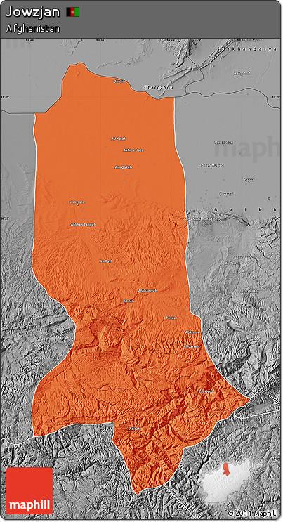 Political Map of Jowzjan, desaturated