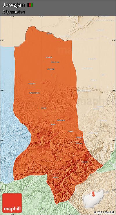Political Map of Jowzjan, lighten
