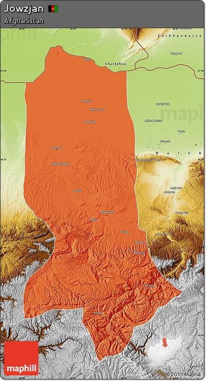 Political Map of Jowzjan, physical outside