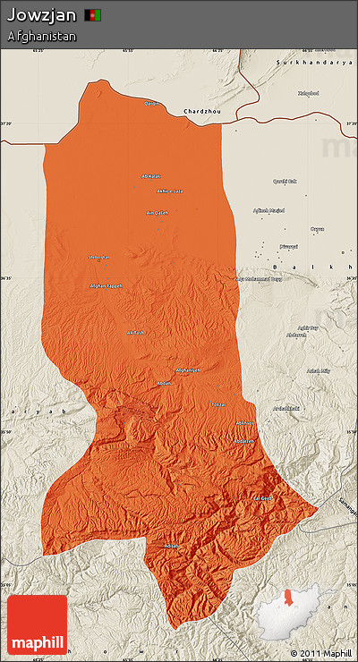 Political Map of Jowzjan, shaded relief outside