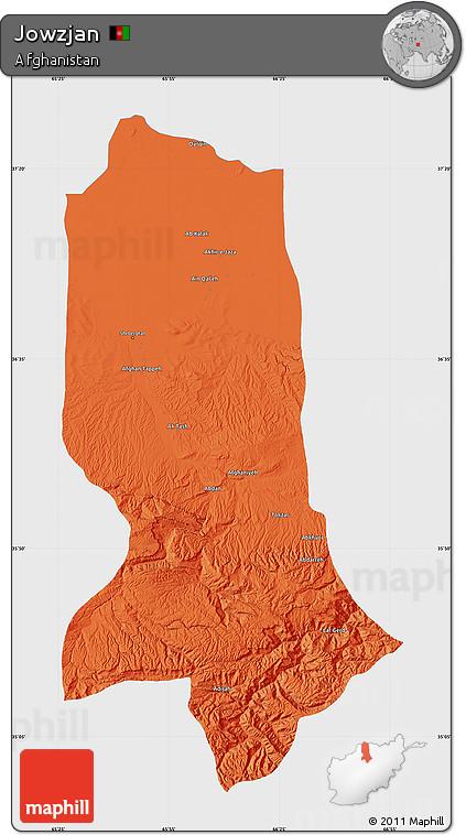 Political Map of Jowzjan, single color outside