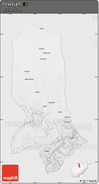 Silver Style Map of Jowzjan, single color outside