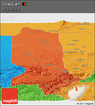 Political Panoramic Map of Jowzjan