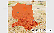 Political Panoramic Map of Jowzjan, satellite outside